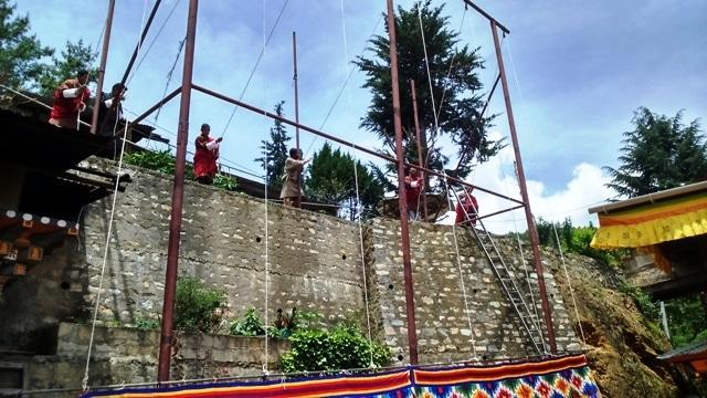 Tanghka Being Unrolled in Zilukha Nunnery