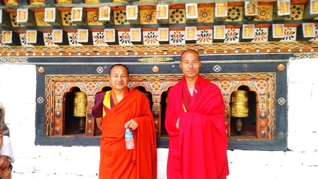 Monks Smiling at Trashichho Dzong, Thimpu, Bhutan
