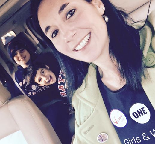 The author with her boys on Election Day in the USA.