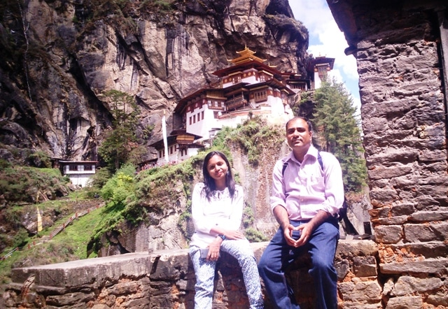 The author and her husband at Tiger's Nest Monastery