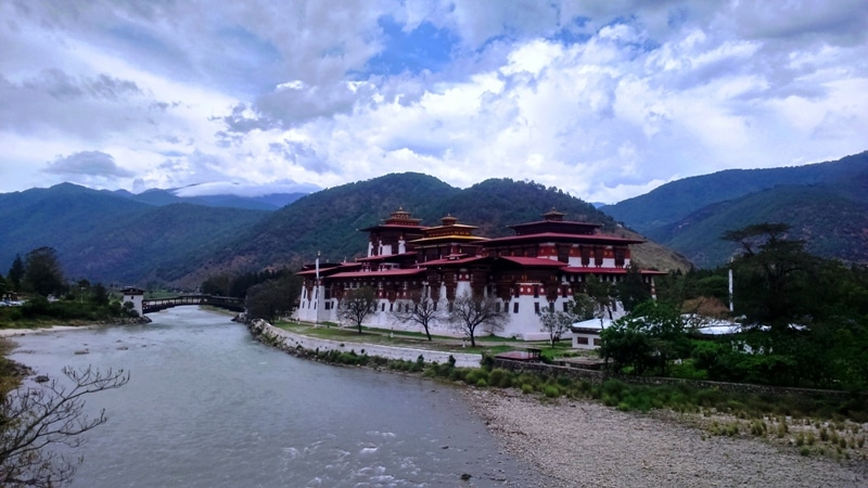 Punakha Dzong (Fort) with Bazam (bridge)