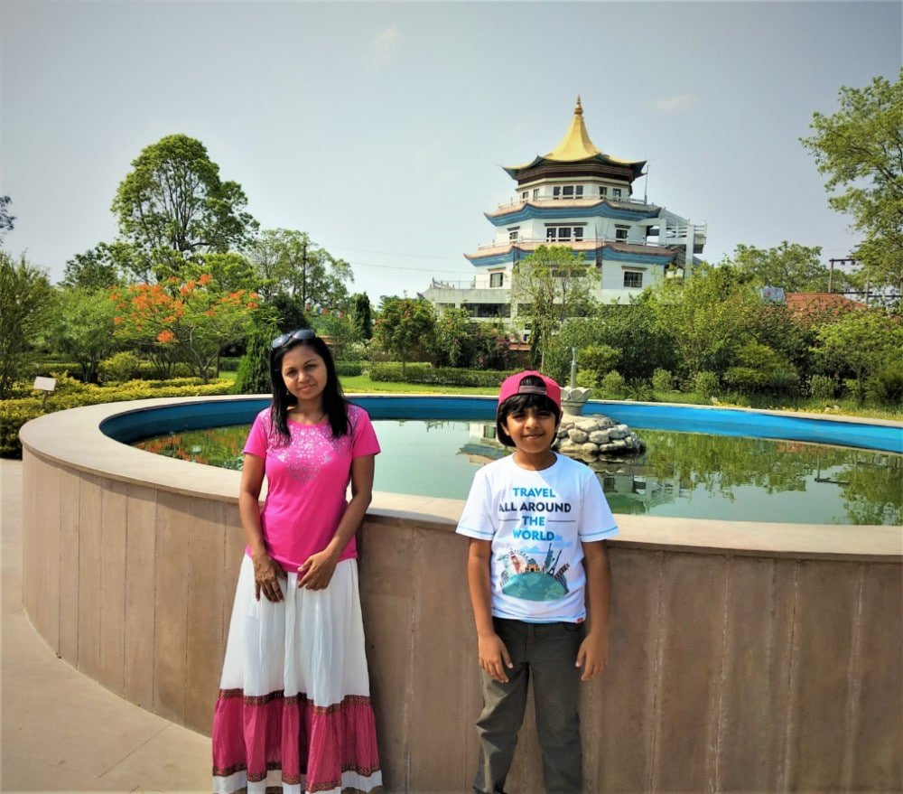 The Author and her son in front of the Singapore Monastery